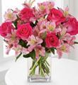 Bouquet Pays des rêves en rose  - Avec vase
