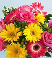 Bouquet Bons Temps de roses et de gerberas