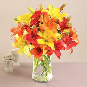 California Sunshine Mixed Asiatic Lilies with Vase