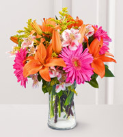 Bouquet Floraison brilliante avec vase