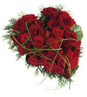 Funérailles Coeur avec Roses Rouges