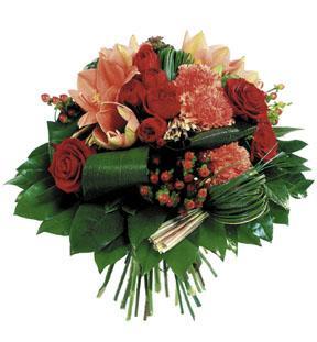Round Bouquet in Red & Orange Colours