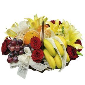 Flower Arrangement with Fruits