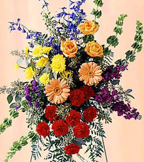 Send colorful flowers in a standing spray and other sympathy gifts for the funeral home from friends, family or a business with Sunnyslope Floral