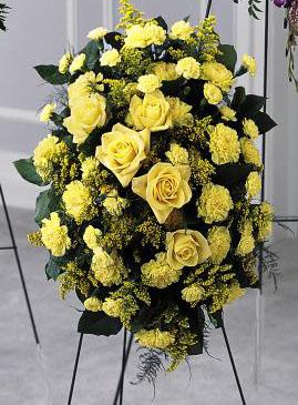 Yellow rose and yellow carnation sympathy spray fresh flowers for delivery to funeral homes and gravesites local and worldwide by Sunnyslope Floral