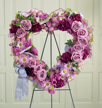 Order heart shaped sympathy wreaths and other sympathy flowers online or by phone 24/7 with Sunnyslope Floral, your local and worldwide delivery florist