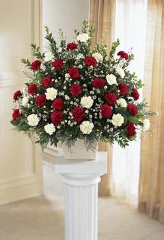 Find red & white sympathy sprays & other funeral flowers for same day delivery in Grand Rapids, Byron Center, Zeeland & Rockford with Sunnyslope Floral