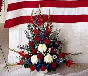 Red white & blue fresh sympathy flowers for delivery to O\'brien Gerst, Gillespie & Brown funeral home with Sunnyslope Floral, a local delivery florist