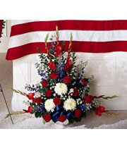 Red white & blue fresh sympathy flowers for delivery to O'brien Gerst, Gillespie & Brown funeral home with Sunnyslope Floral, a local delivery florist