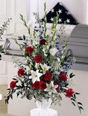 Red, white and blue patriotic sympathy sprays and other sympathy gift ideas delivered daily to funeral homes and gravesites by Sunnyslope Floral