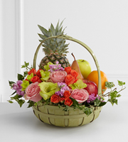 The FTD� Rest in Peace� Fruit & Flowers Basket Ruth Messmer Florist, Fort Myers Florida Florist