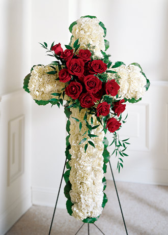 Find red & white flower sympathy cross sprays and other gift ideas delivered daily to funeral homes in Grand Rapids Mi & worldwide with Sunnyslope Floral