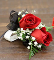 2 Rose Corsage Red
