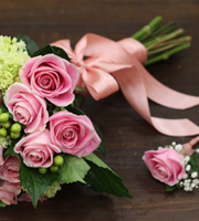 Wedding Bouquet and Boutonniere Set Pink