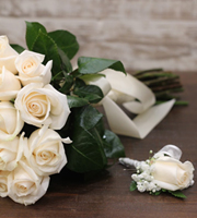 Wedding Bouquet and Boutonniere Set Classic White