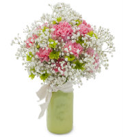 Send BABY'S BREATH, CARNATIONS, and more in a GREEN vase arrangement with Grand Rapids Florist Sunnyslope Floral Grandville