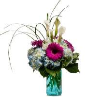Find HYDRANGEA, GERBERA DAISY, and flowers in BLUE Vase to send TODAY with Grand Rapids LOCAL Florist Sunnyslope Floral