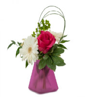 Send PINK ROSE and WHITE GERBERA Daisy in PINK VASE to the Metro Area of Grand Rapids with LOCAL Florist Sunnyslope Floral