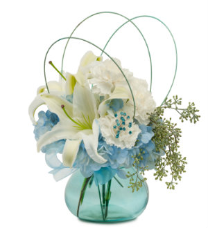 Find and Send Blue FLOWER Arrangement in Blue Vase with WHITE LILIES and more with Sunnyslope Floral your LOCAL FLORIST