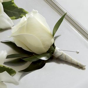 White Garden Rose Boutonniere frederick's flowers & greenhouses the ftd® white rose boutonniere
