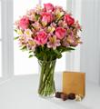 Dreamland Pink Bouquet with Vase and Godiva® Chocolates