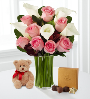 Fabled Beauty with Bear & Godiva® - VASE INCLUDED