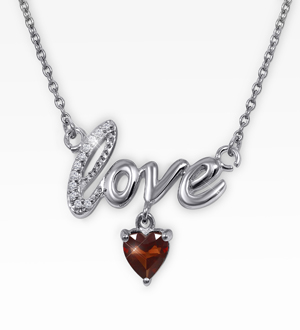 6mm Created Ruby & Diamond Accent Sterling Silver Love Necklace