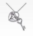 Diamond Accent Key & Heart Sterling Silver Pendant