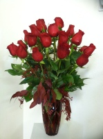 Truly in Love Bouquet Two Dozen Stunning Red Roses with Red Vase