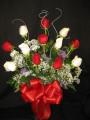 Dozen Roses Red and White