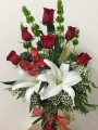 A Flutter of Love Bouquet Half Dozen Rose With Stargazer Lily and a Glittering Butterfly