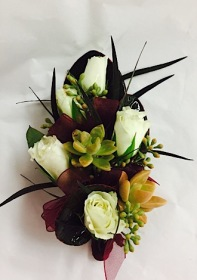 Succulent and Rose Corsage