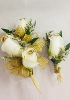 Shimmer Gold Rose Corsage and Boutonniere