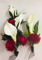 Calla Lily and Aster Corsage and Boutonniere