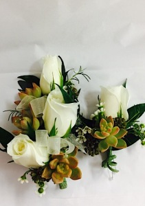 Rose and Succulent Corsage
