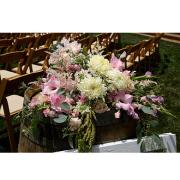 Sparkling Rose wine barrel flowers