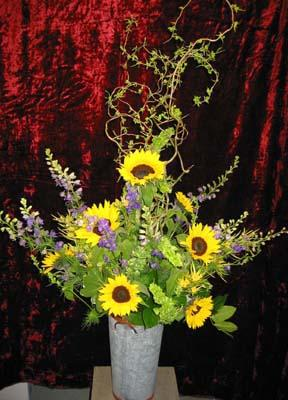 Sunflower and Larkspur Tin Arrangement