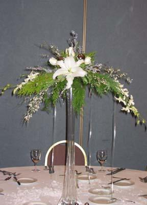 Pedestal Centerpiece with Orchids and Lillies