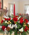 A VERY MERRY CHRISTMAS CENTERPIECE SINGLE CANDLE