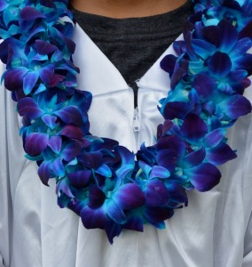 BLUE DOUBLE  ORCHID LEI