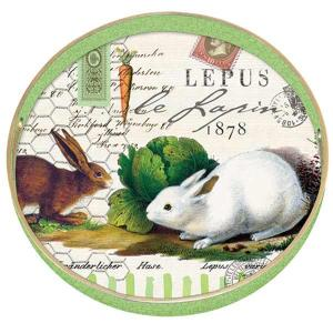 Bunnies Round Decoupage Wooden Tray