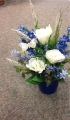 Blue Silk Arrangement in Ceramic Container