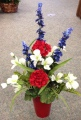 Patriotic Silk Arrangement in Red Vase