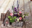 Silk Pink Birdhouse Arrangement