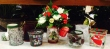 Christmasy Votive cup with flowers and a candle