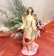 Christmas Angel with Pink Skirt, Red Flower