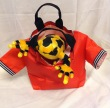 Plush Frog in Red T-shirt Bag