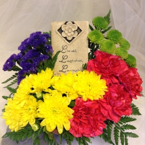 Live Laugh Love Plaque with Fresh Flowers