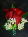 Red Rose Boutonniere with Wax Flower