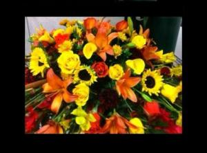 Harvest Blooms Casket Spray